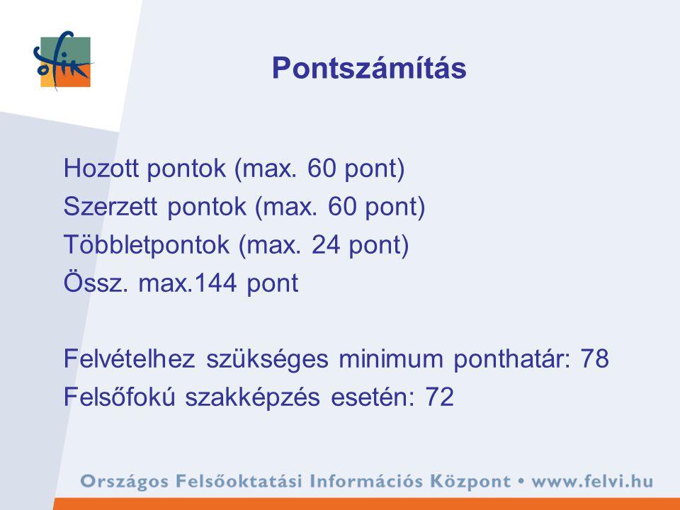 Pontszámítás Hozott pontok (max. 60 pont) Szerzett pontok (max. 60 pont) Többletpontok (max. 24 pont) Össz. max.144 pont Felvételhez szükséges minimum