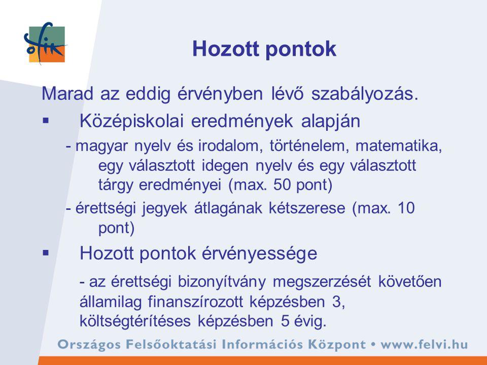 Hozott pontok Marad az eddig érvényben lévő szabályozás.  Középiskolai eredmények alapján - magyar nyelv és irodalom, történelem, matematika, egy vál