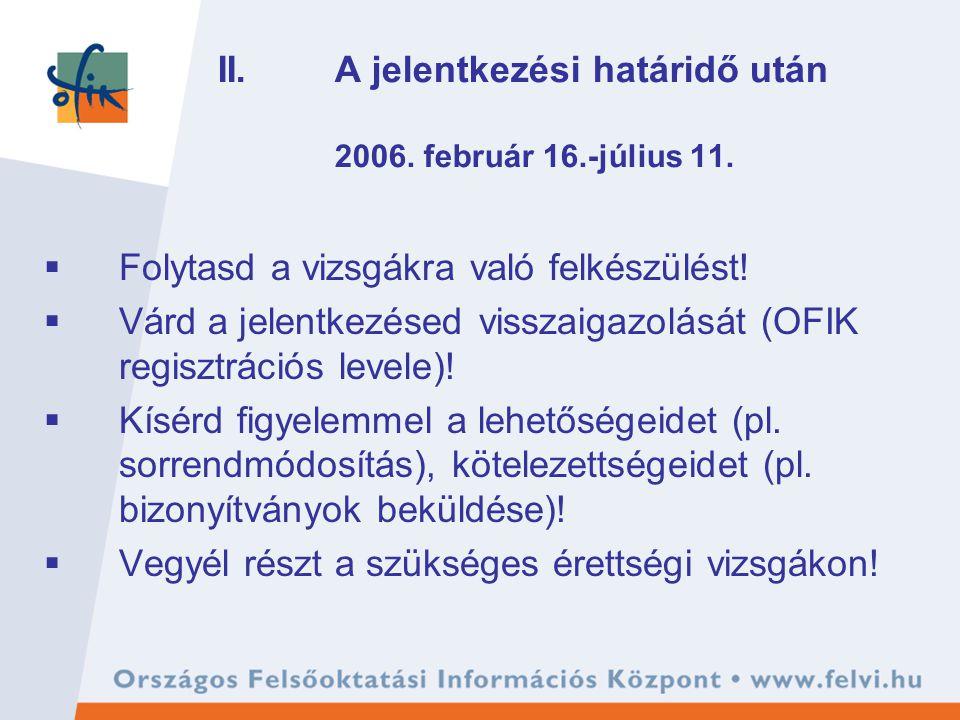 II. A jelentkezési határidő után 2006. február 16.-július 11.  Folytasd a vizsgákra való felkészülést!  Várd a jelentkezésed visszaigazolását (OFIK