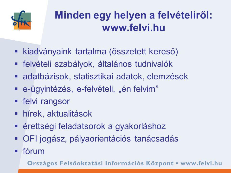 Minden egy helyen a felvételiről: www.felvi.hu  kiadványaink tartalma (összetett kereső)  felvételi szabályok, általános tudnivalók  adatbázisok, s