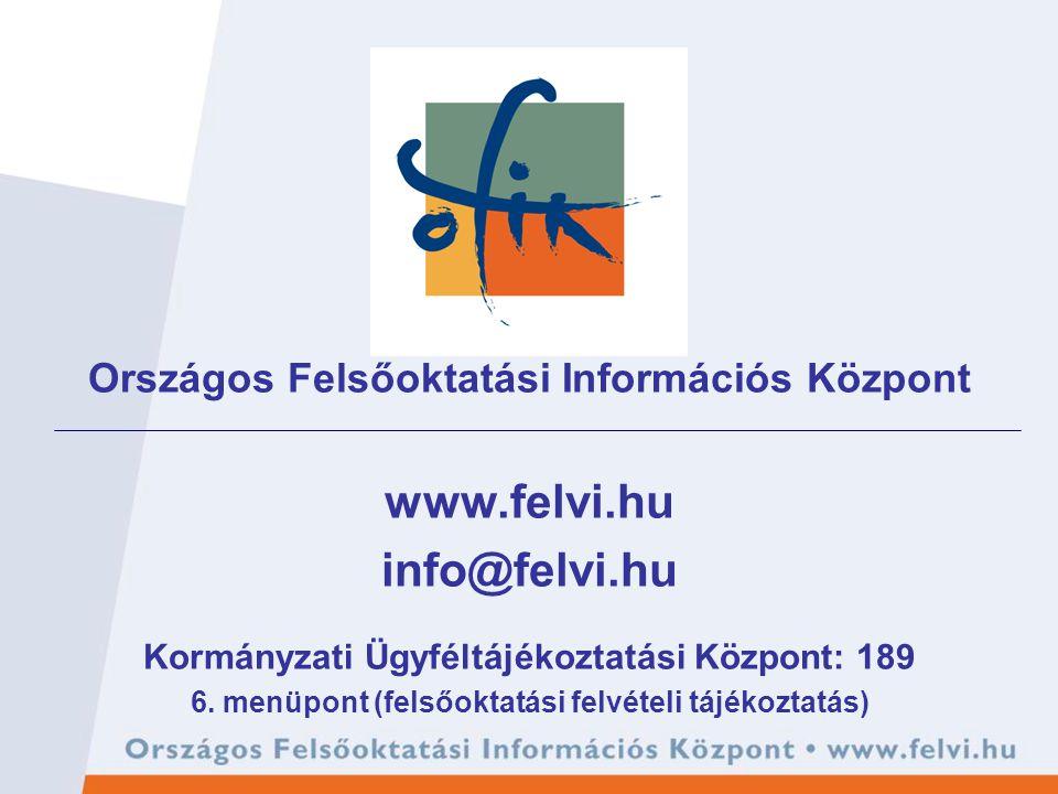 Országos Felsőoktatási Információs Központ www.felvi.hu info@felvi.hu Kormányzati Ügyféltájékoztatási Központ: 189 6. menüpont (felsőoktatási felvétel