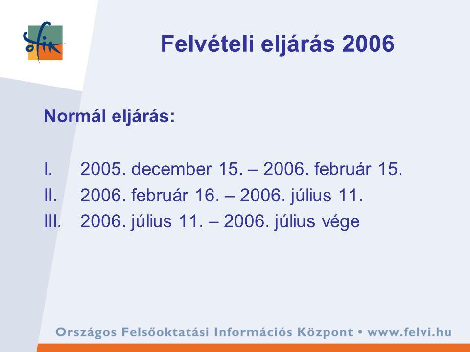Felvételi eljárás 2006 Normál eljárás: I.2005. december 15. – 2006. február 15. II.2006. február 16. – 2006. július 11. III.2006. július 11. – 2006. j