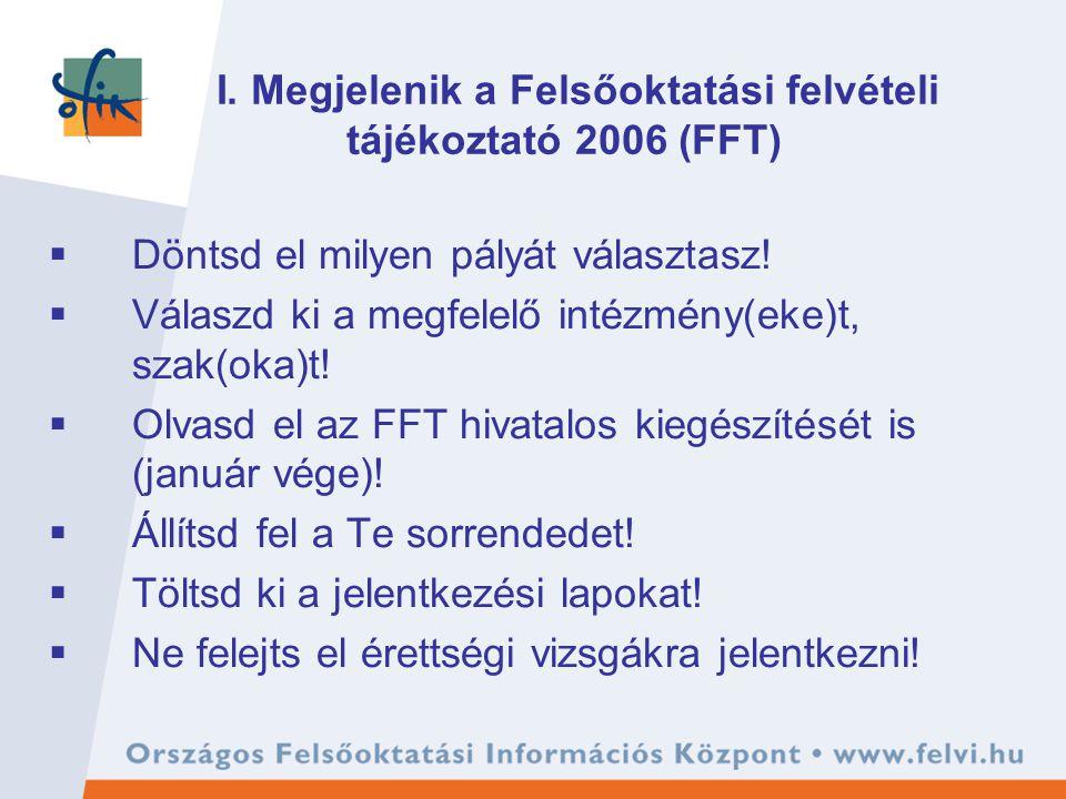 I. Megjelenik a Felsőoktatási felvételi tájékoztató 2006 (FFT)  Döntsd el milyen pályát választasz!  Válaszd ki a megfelelő intézmény(eke)t, szak(ok