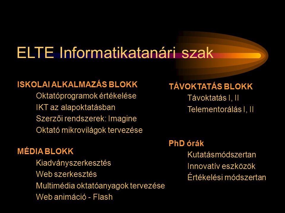 ELTE Informatikatanári szak ISKOLAI ALKALMAZÁS BLOKK Oktatóprogramok értékelése IKT az alapoktatásban Szerzői rendszerek: Imagine Oktató mikrovilágok