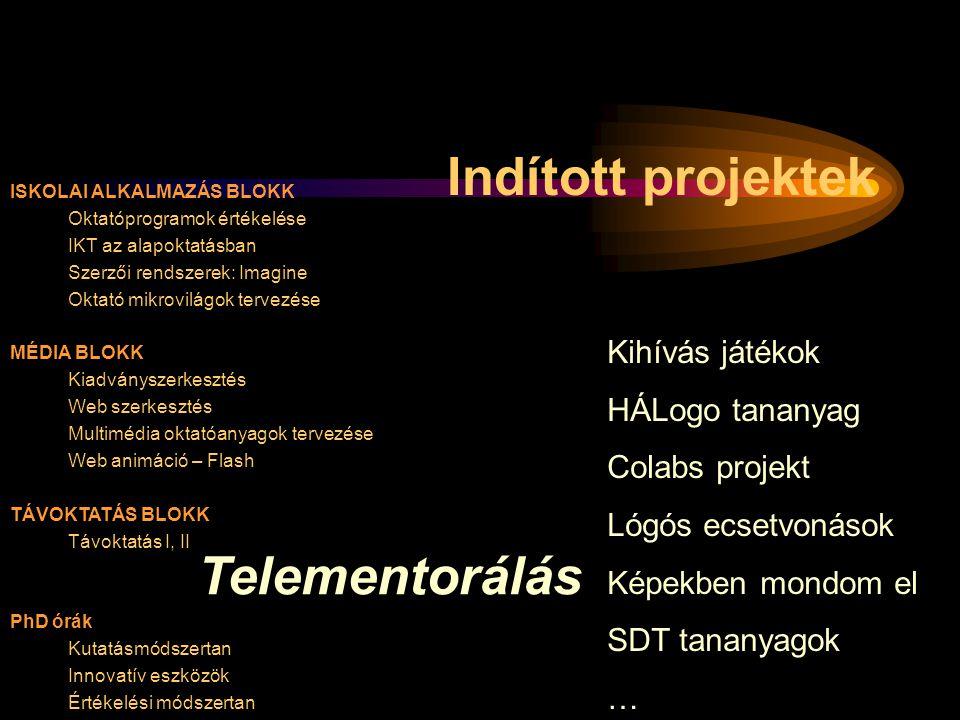 ISKOLAI ALKALMAZÁS BLOKK Oktatóprogramok értékelése IKT az alapoktatásban Szerzői rendszerek: Imagine Oktató mikrovilágok tervezése MÉDIA BLOKK Kiadvá