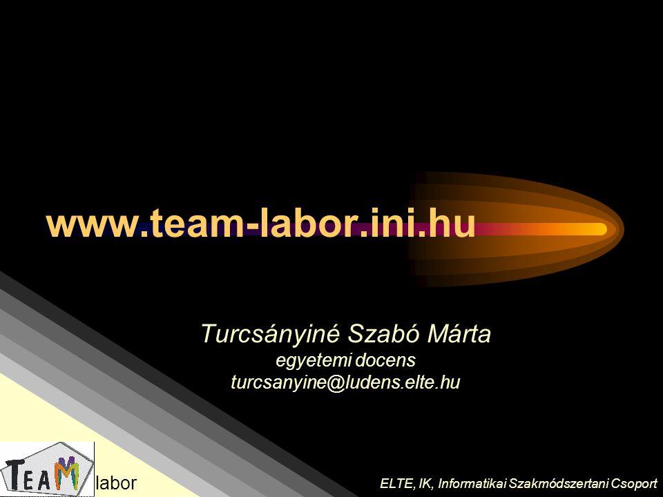 Turcsányiné Szabó Márta egyetemi docens turcsanyine@ludens.elte.hu ELTE, IK, Informatikai Szakmódszertani Csoport labor www.team-labor.ini.hu