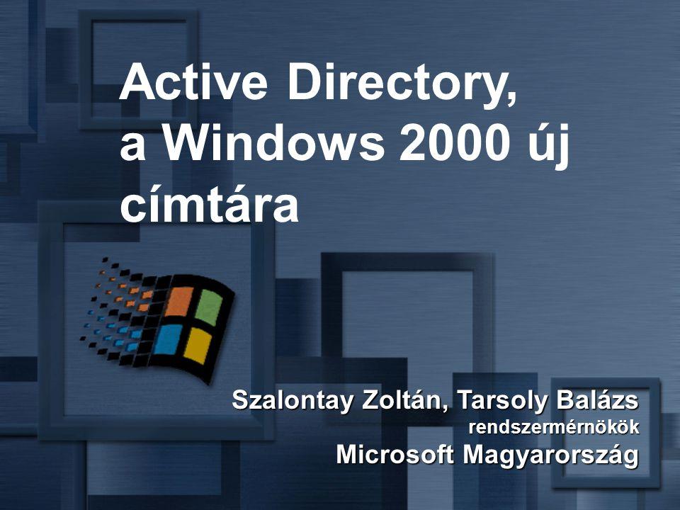 Szalontay Zoltán, Tarsoly Balázs rendszermérnökök Microsoft Magyarország Active Directory, a Windows 2000 új címtára