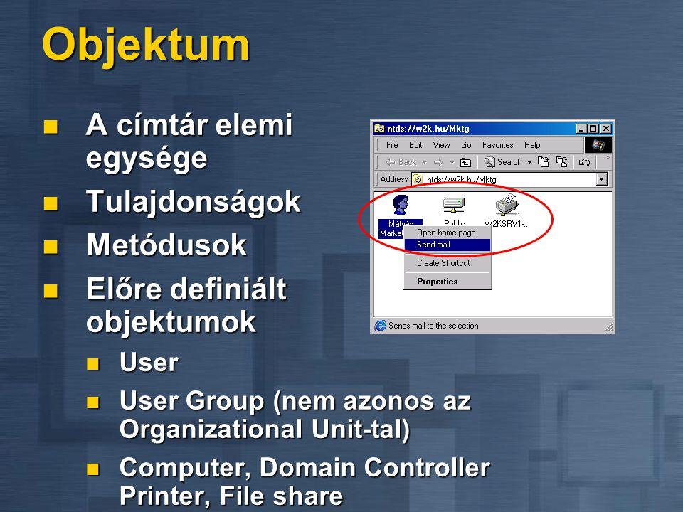Objektum A címtár elemi egysége A címtár elemi egysége Tulajdonságok Tulajdonságok Metódusok Metódusok Előre definiált objektumok Előre definiált obje