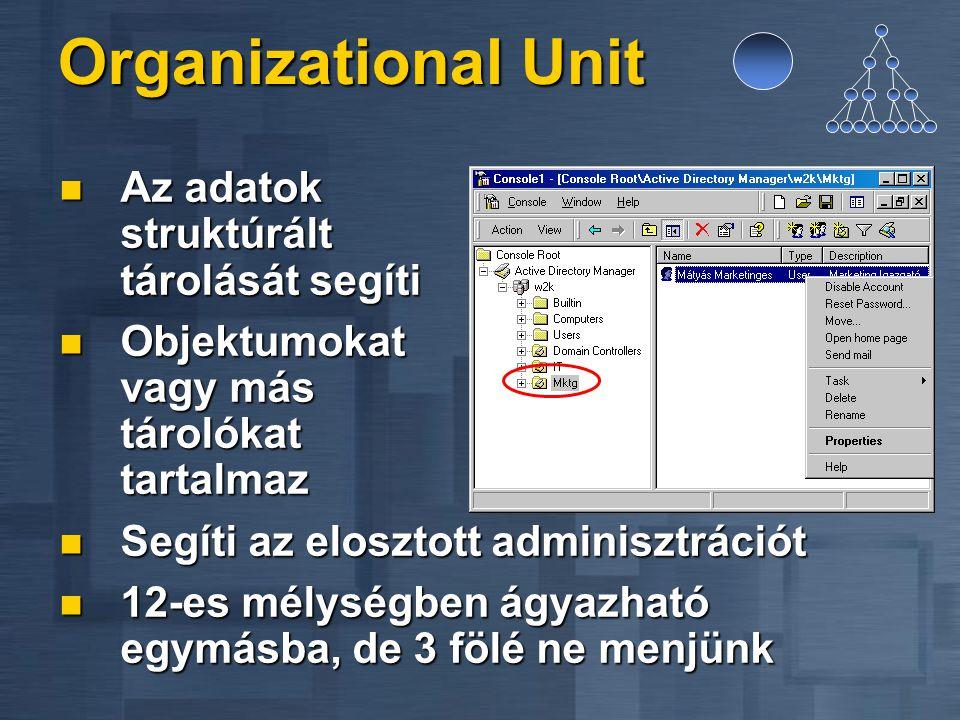 Organizational Unit Az adatok struktúrált tárolását segíti Az adatok struktúrált tárolását segíti Objektumokat vagy más tárolókat tartalmaz Objektumok