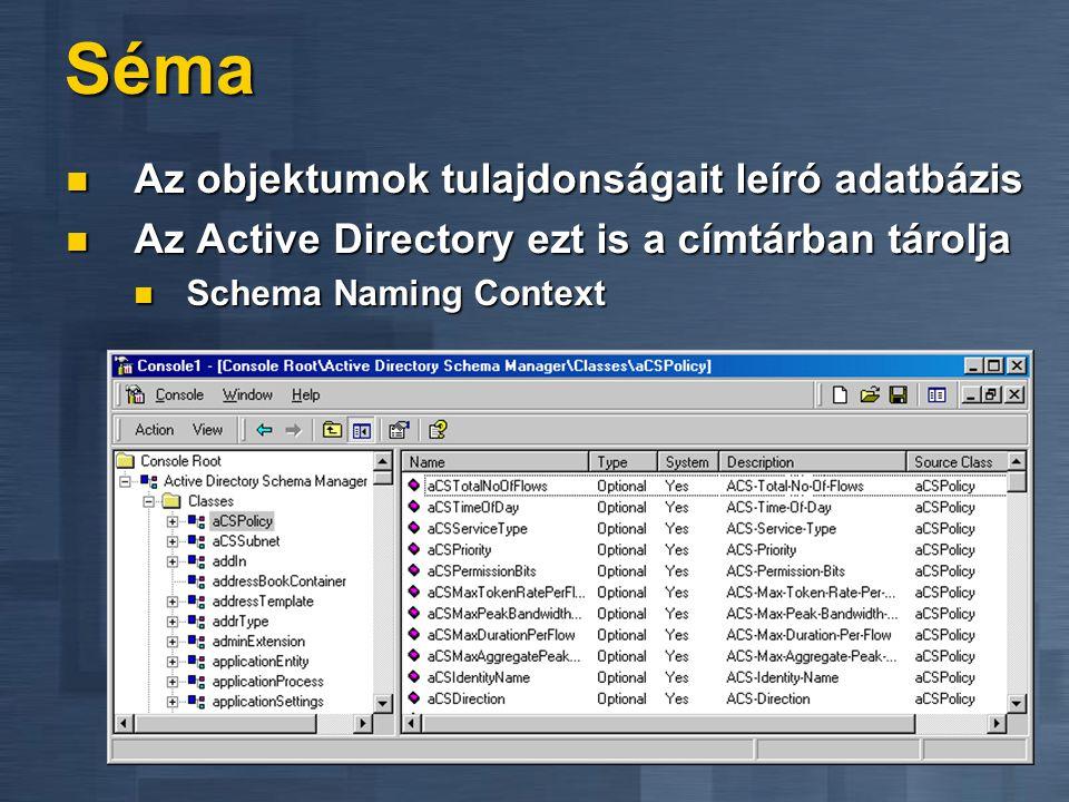 Séma Az objektumok tulajdonságait leíró adatbázis Az objektumok tulajdonságait leíró adatbázis Az Active Directory ezt is a címtárban tárolja Az Activ