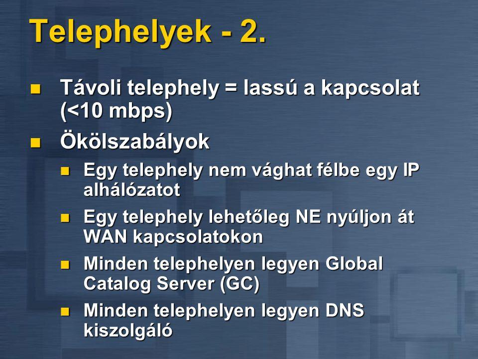 Telephelyek - 2. Távoli telephely = lassú a kapcsolat (<10 mbps) Távoli telephely = lassú a kapcsolat (<10 mbps) Ökölszabályok Ökölszabályok Egy telep