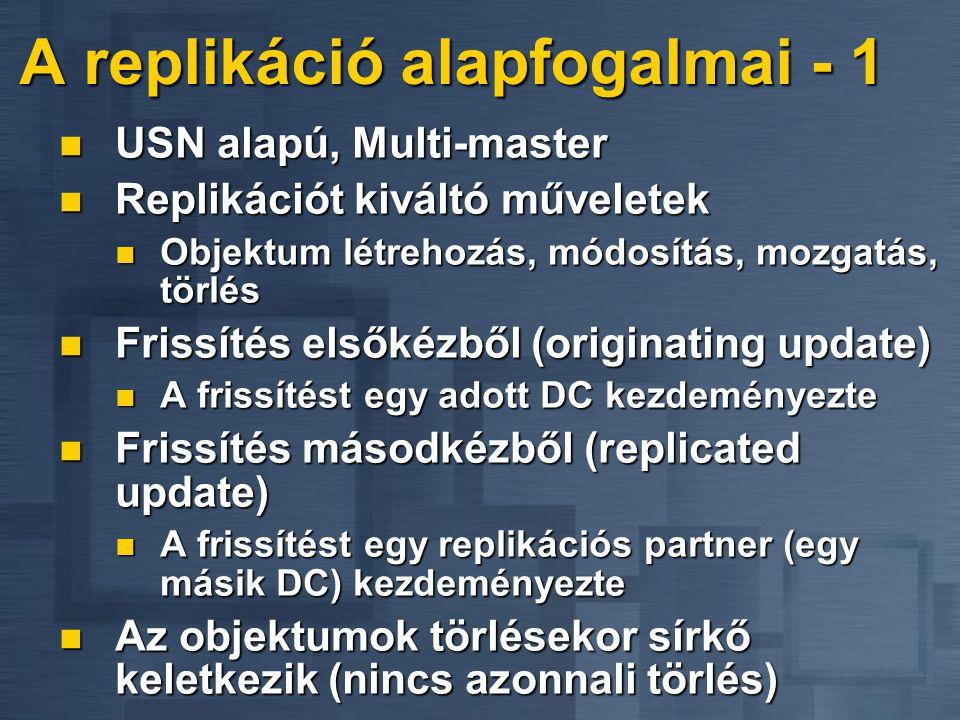 A replikáció alapfogalmai - 1 USN alapú, Multi-master USN alapú, Multi-master Replikációt kiváltó műveletek Replikációt kiváltó műveletek Objektum lét