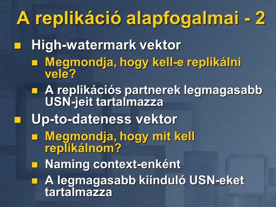 A replikáció alapfogalmai - 2 High-watermark vektor High-watermark vektor Megmondja, hogy kell-e replikálni vele? Megmondja, hogy kell-e replikálni ve