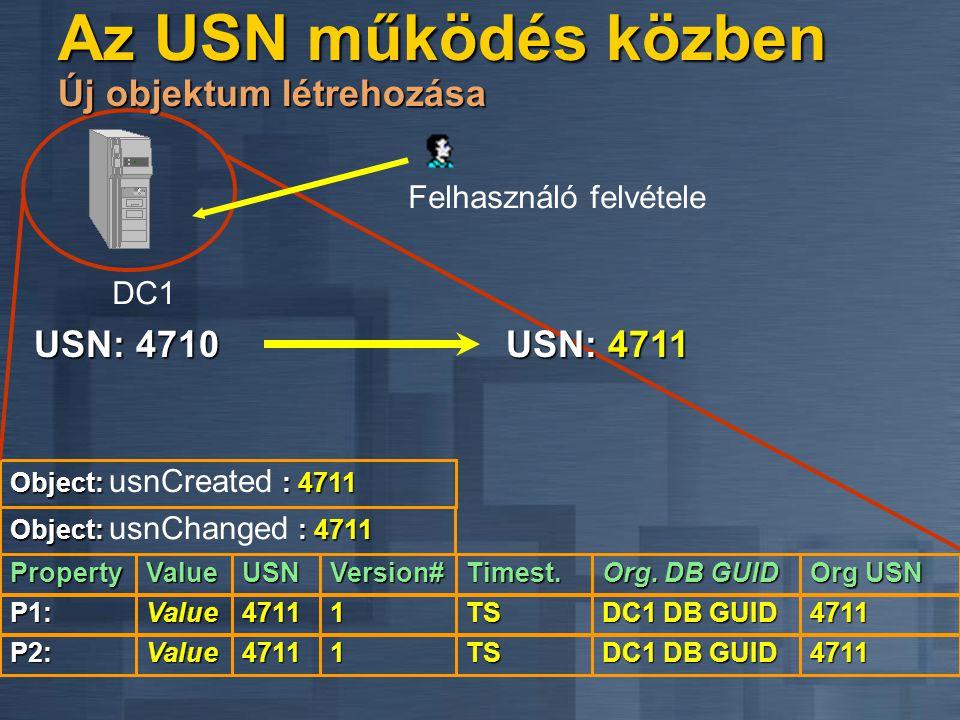 USN: 4710 Object: : 4711 Object: usnCreated : 4711 P1:4711 Version# TS USN: 4711 Value1 Felhasználó felvétele DC1DC1 Org. DB GUID 4711 DC1 DB GUID Pro