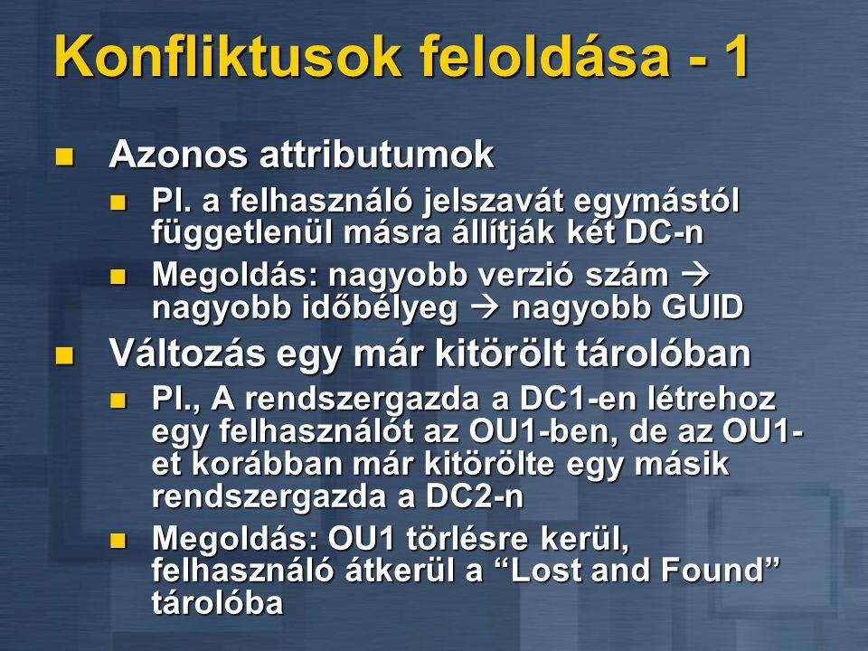 Konfliktusok feloldása - 1 Azonos attributumok Azonos attributumok Pl. a felhasználó jelszavát egymástól függetlenül másra állítják két DC-n Pl. a fel