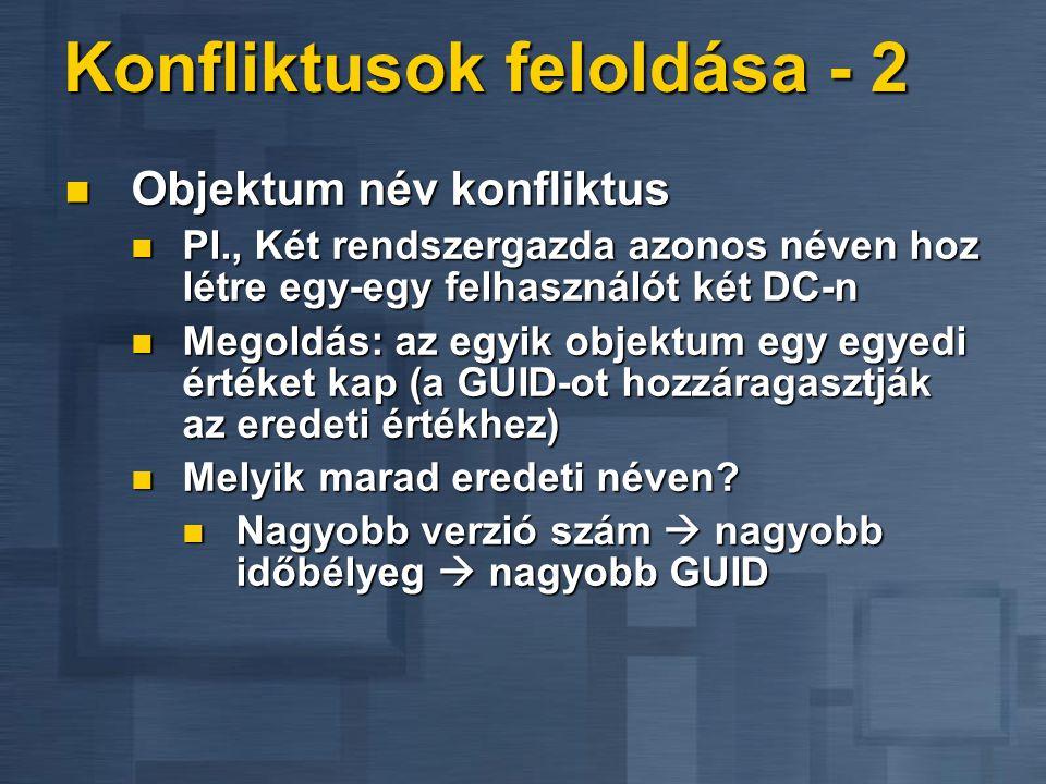 Konfliktusok feloldása - 2 Objektum név konfliktus Objektum név konfliktus Pl., Két rendszergazda azonos néven hoz létre egy-egy felhasználót két DC-n