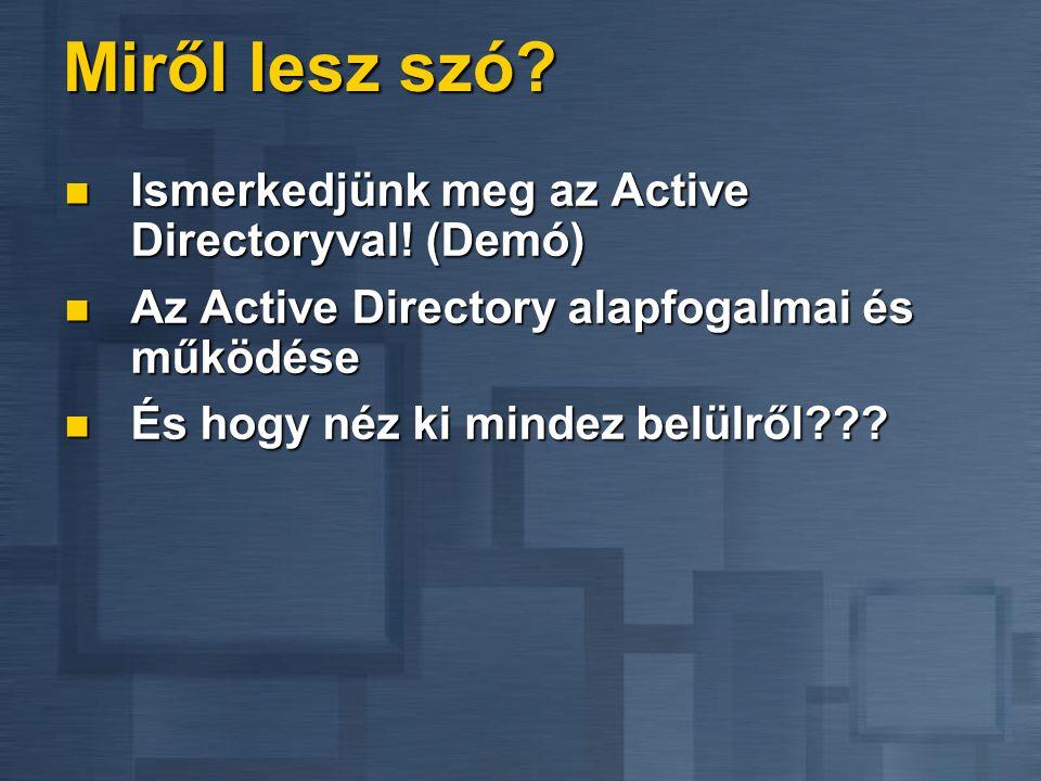 Miről lesz szó? Ismerkedjünk meg az Active Directoryval! (Demó) Ismerkedjünk meg az Active Directoryval! (Demó) Az Active Directory alapfogalmai és mű