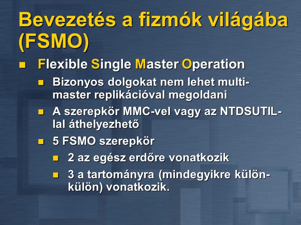 Bevezetés a fizmók világába (FSMO) Flexible Single Master Operation Flexible Single Master Operation Bizonyos dolgokat nem lehet multi- master repliká
