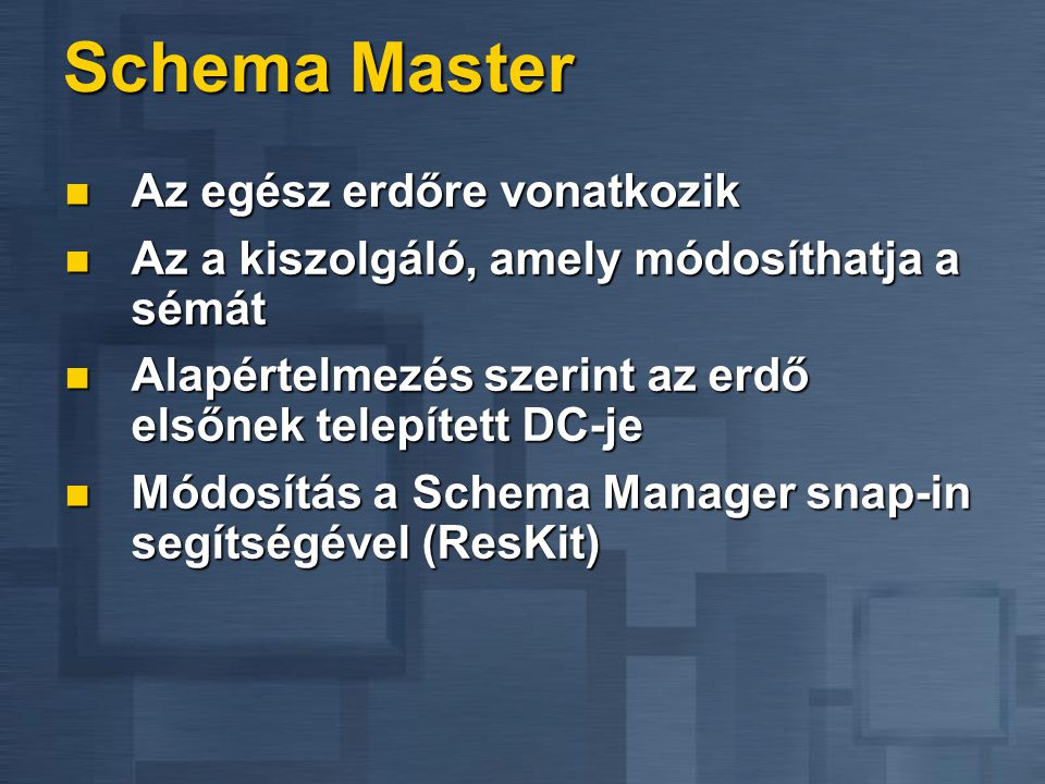 Schema Master Az egész erdőre vonatkozik Az egész erdőre vonatkozik Az a kiszolgáló, amely módosíthatja a sémát Az a kiszolgáló, amely módosíthatja a