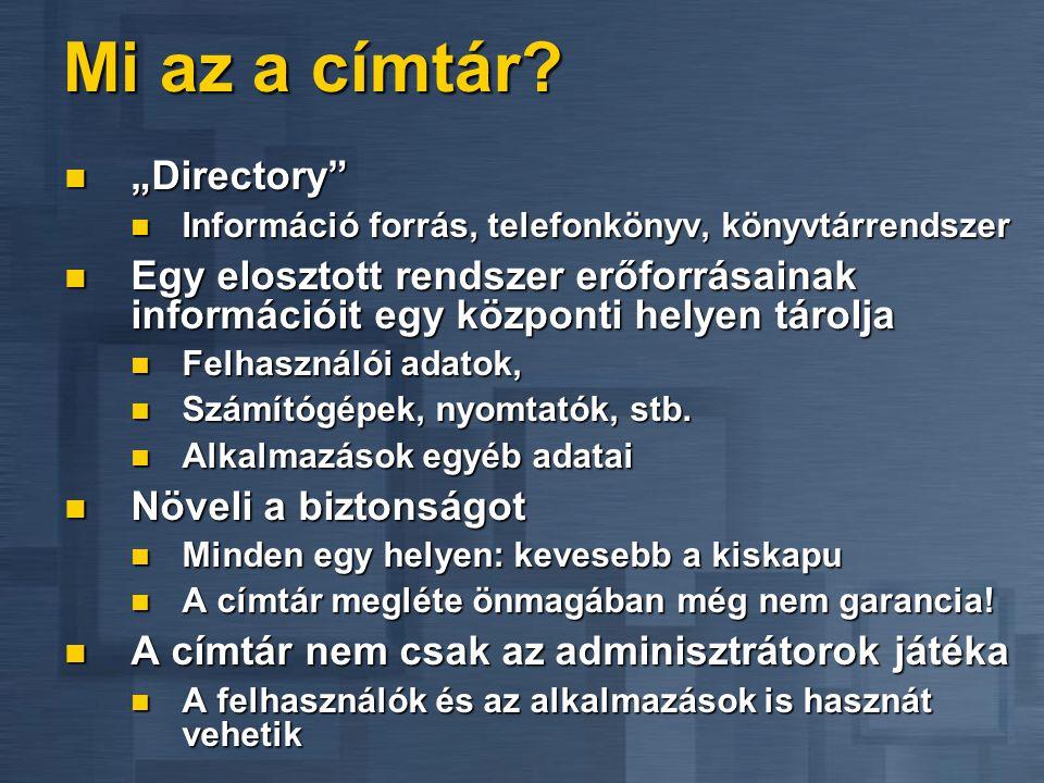 """Mi az a címtár? """"Directory"""" """"Directory"""" Információ forrás, telefonkönyv, könyvtárrendszer Információ forrás, telefonkönyv, könyvtárrendszer Egy eloszt"""