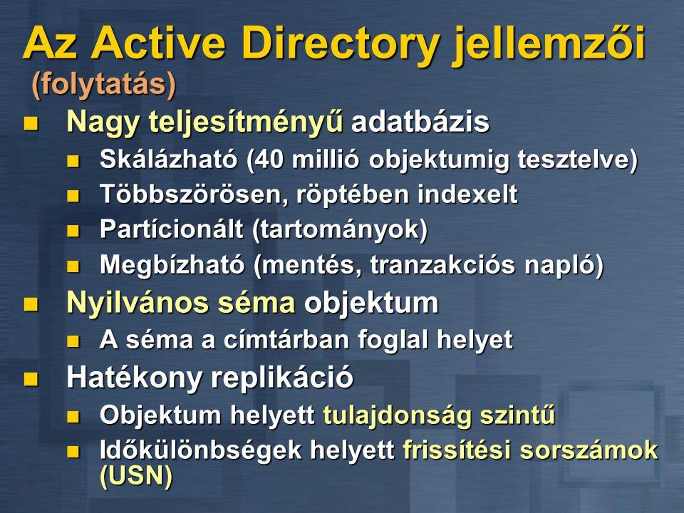 Az Active Directory jellemzői (folytatás) Nagy teljesítményű adatbázis Nagy teljesítményű adatbázis Skálázható (40 millió objektumig tesztelve) Skáláz