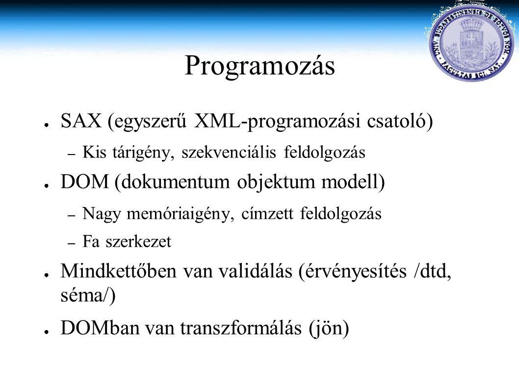 Programozás ● SAX (egyszerű XML-programozási csatoló) – Kis tárigény, szekvenciális feldolgozás ● DOM (dokumentum objektum modell) – Nagy memóriaigény, címzett feldolgozás – Fa szerkezet ● Mindkettőben van validálás (érvényesítés /dtd, séma/) ● DOMban van transzformálás (jön)