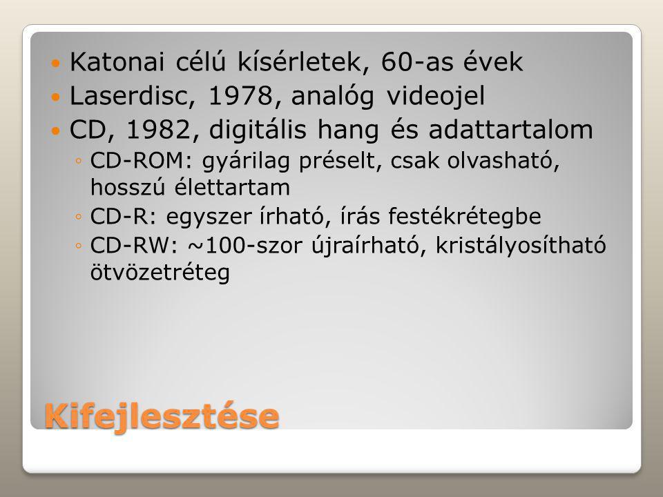 Kifejlesztése Katonai célú kísérletek, 60-as évek Laserdisc, 1978, analóg videojel CD, 1982, digitális hang és adattartalom ◦CD-ROM: gyárilag préselt, csak olvasható, hosszú élettartam ◦CD-R: egyszer írható, írás festékrétegbe ◦CD-RW: ~100-szor újraírható, kristályosítható ötvözetréteg