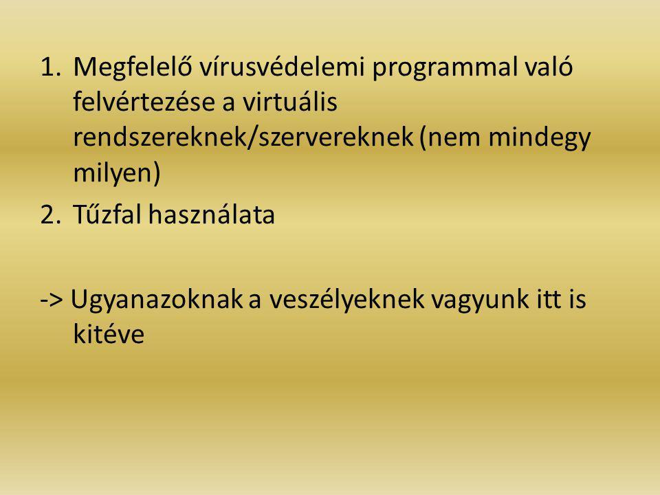 1.Megfelelő vírusvédelemi programmal való felvértezése a virtuális rendszereknek/szervereknek (nem mindegy milyen) 2.Tűzfal használata -> Ugyanazoknak a veszélyeknek vagyunk itt is kitéve