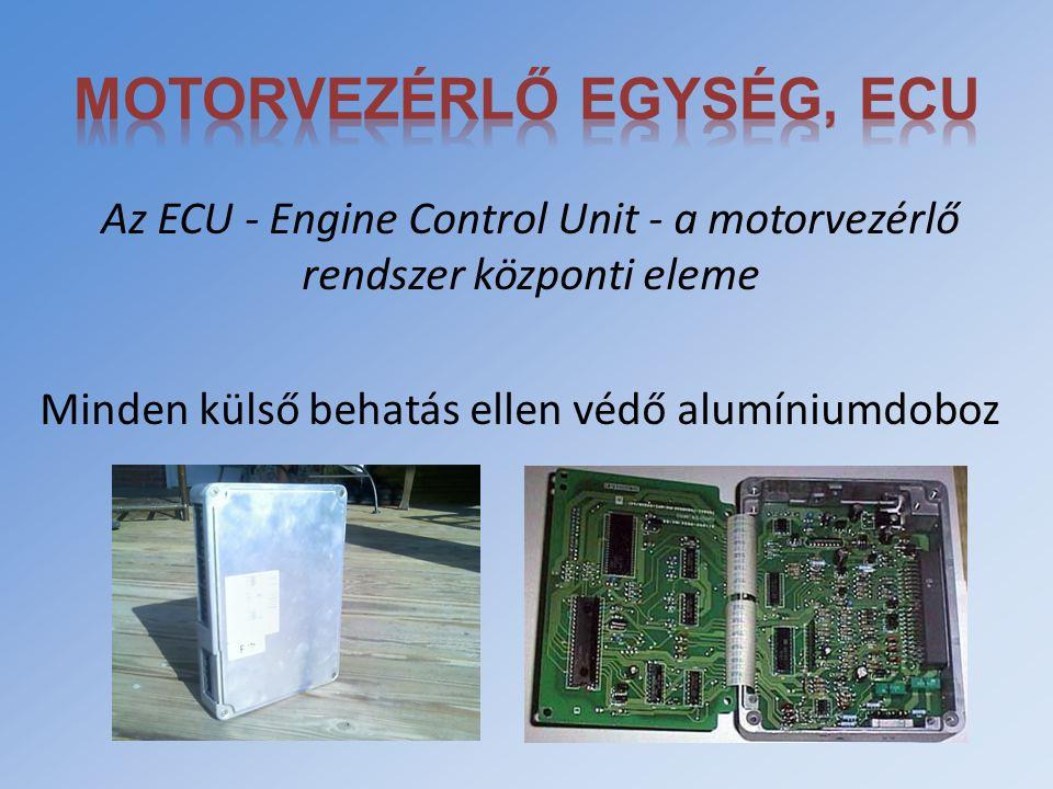 Az ECU - Engine Control Unit - a motorvezérlő rendszer központi eleme Minden külső behatás ellen védő alumíniumdoboz