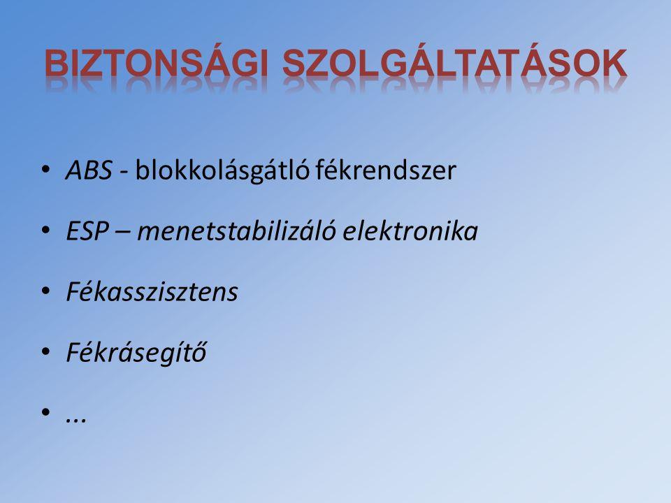 ABS - blokkolásgátló fékrendszer ESP – menetstabilizáló elektronika Fékasszisztens Fékrásegítő...