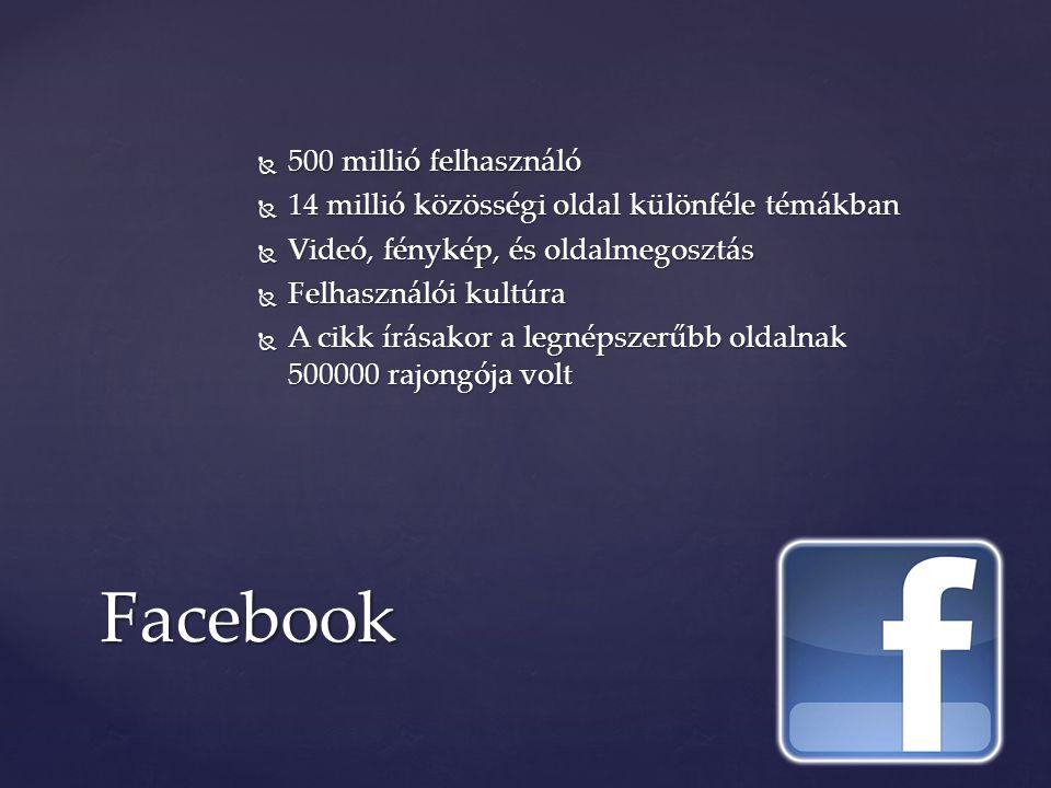Facebook  500 millió felhasználó  14 millió közösségi oldal különféle témákban  Videó, fénykép, és oldalmegosztás  Felhasználói kultúra  A cikk írásakor a legnépszerűbb oldalnak 500000 rajongója volt