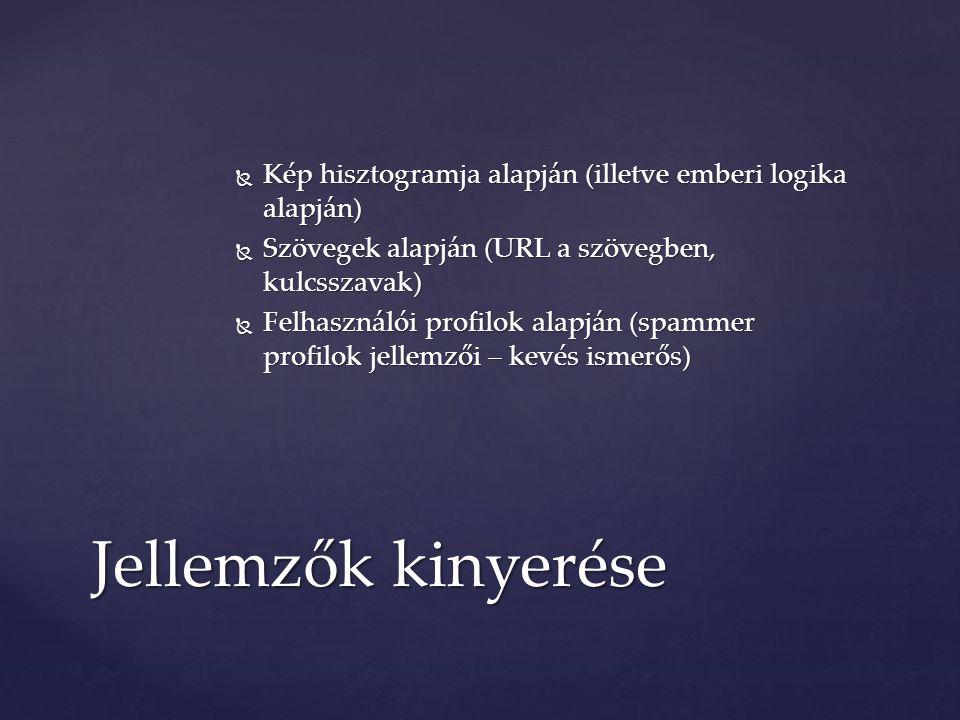  Kép hisztogramja alapján (illetve emberi logika alapján)  Szövegek alapján (URL a szövegben, kulcsszavak)  Felhasználói profilok alapján (spammer