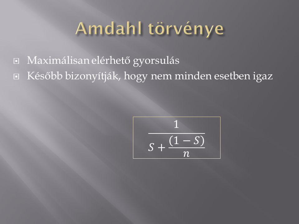  Nem teljesen helyes Amdahl törvénye  Jobban megbecsüli a sebességjavulást