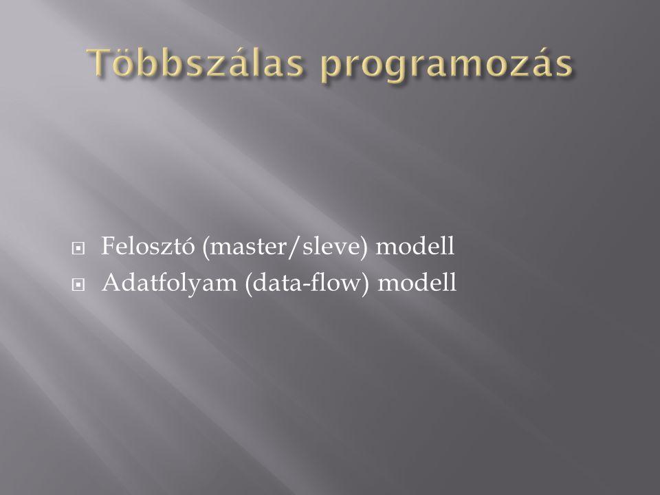  Felosztó (master/sleve) modell  Adatfolyam (data-flow) modell