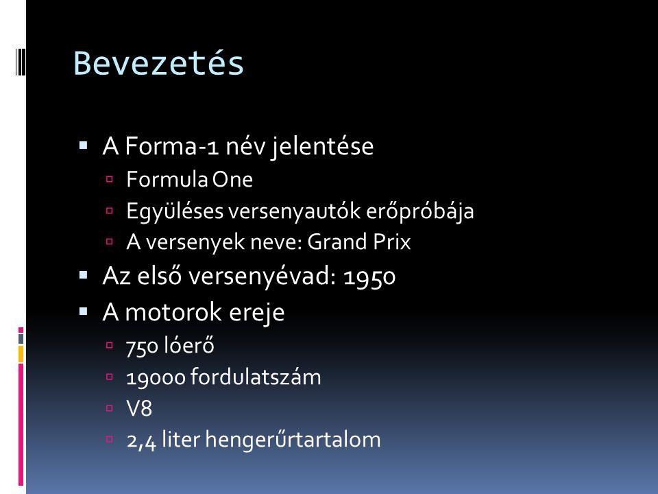 Bevezetés  A Forma-1 név jelentése  Formula One  Együléses versenyautók erőpróbája  A versenyek neve: Grand Prix  Az első versenyévad: 1950  A m