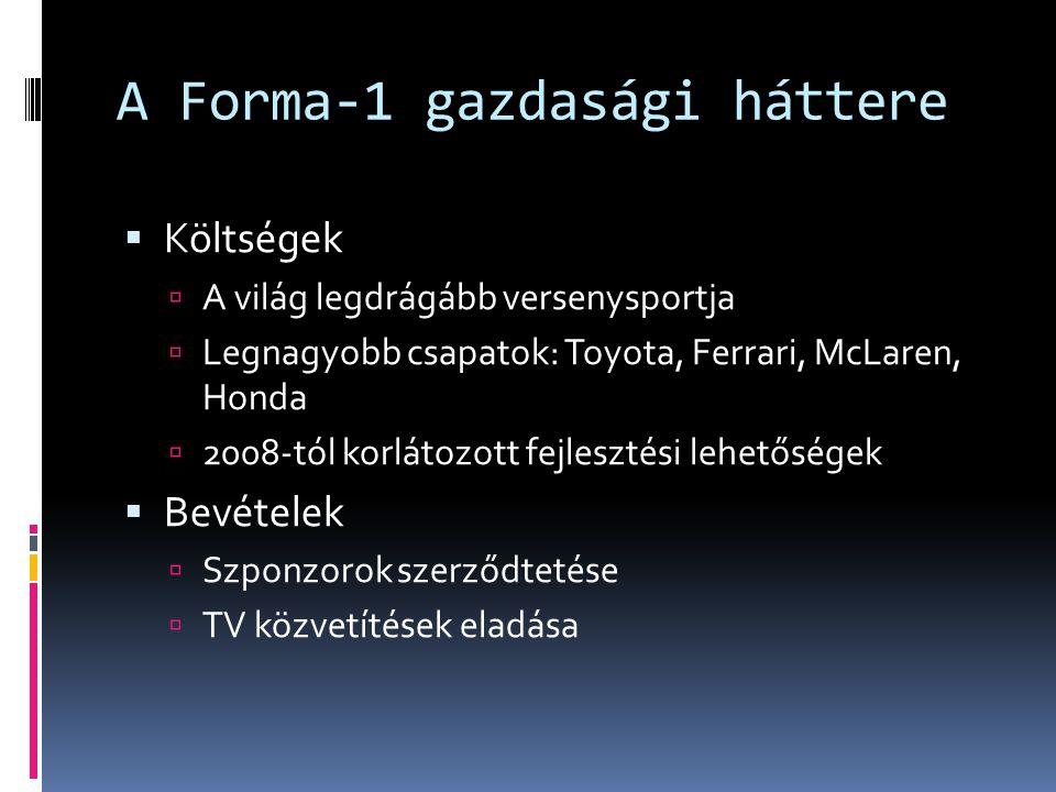 A Forma-1 gazdasági háttere  Költségek  A világ legdrágább versenysportja  Legnagyobb csapatok: Toyota, Ferrari, McLaren, Honda  2008-tól korlátoz