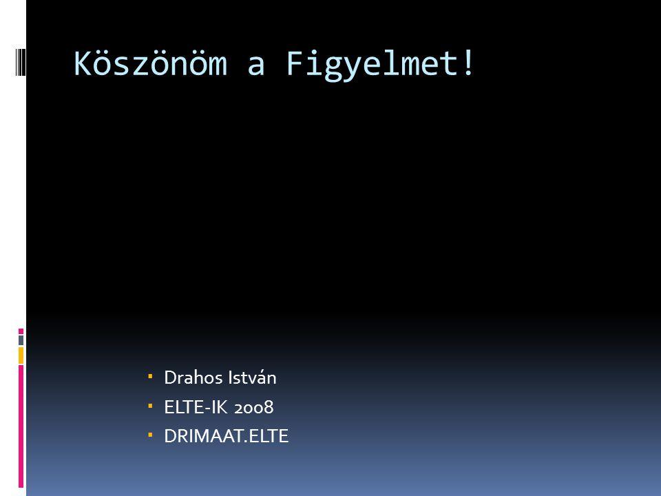 Köszönöm a Figyelmet!  Drahos István  ELTE-IK 2008  DRIMAAT.ELTE