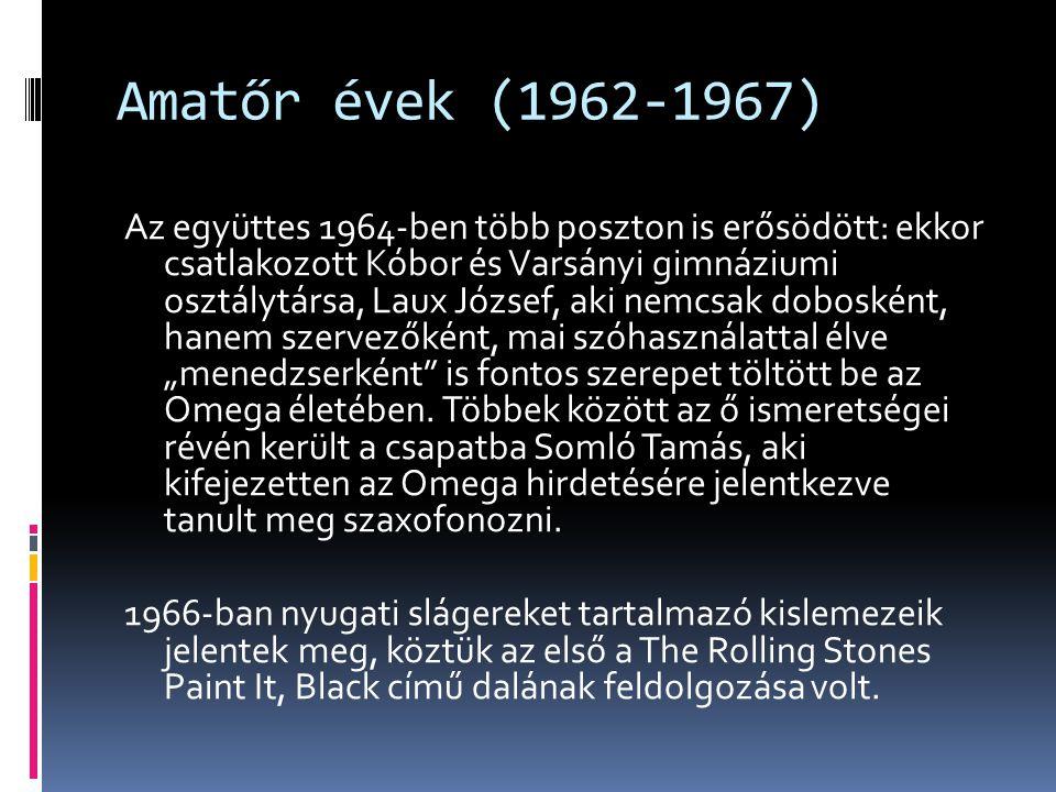 Beat-korszak (1967-1971)  Az 1960-as évek közepén megindult a magyar beategyüttesek profivá válása, az Illés által megkezdett irányvonalat követve a nyugati slágerek mellett saját, magyar nyelvű szerzeményekkel is előálltak.
