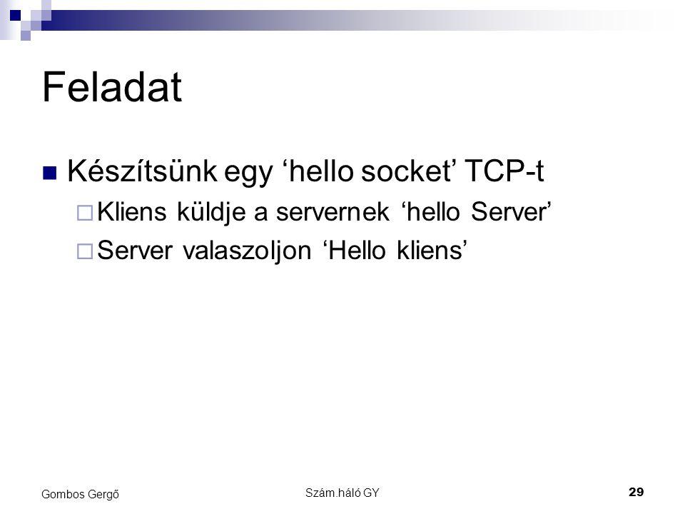 Szám.háló GY29 Gombos Gergő Feladat Készítsünk egy 'hello socket' TCP-t  Kliens küldje a servernek 'hello Server'  Server valaszoljon 'Hello kliens'
