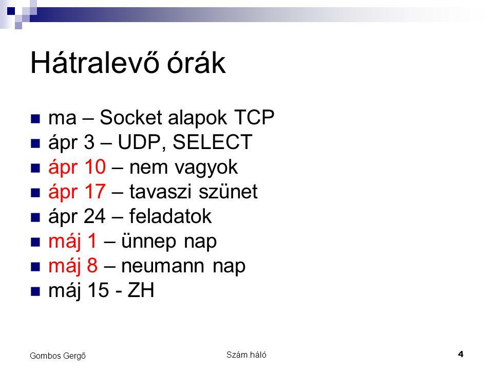 Szám.háló4 Gombos Gergő Hátralevő órák ma – Socket alapok TCP ápr 3 – UDP, SELECT ápr 10 – nem vagyok ápr 17 – tavaszi szünet ápr 24 – feladatok máj 1 – ünnep nap máj 8 – neumann nap máj 15 - ZH