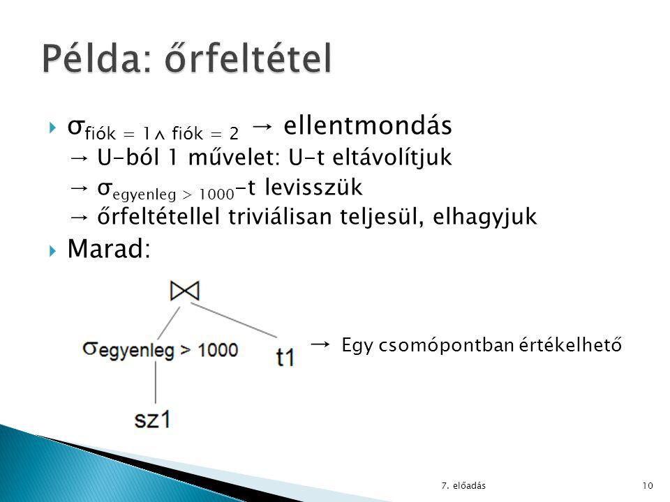  σ fiók = 1⋀ fiók = 2 → ellentmondás → U-ból 1 művelet: U-t eltávolítjuk → σ egyenleg > 1000 -t levisszük → őrfeltétellel triviálisan teljesül, elhag