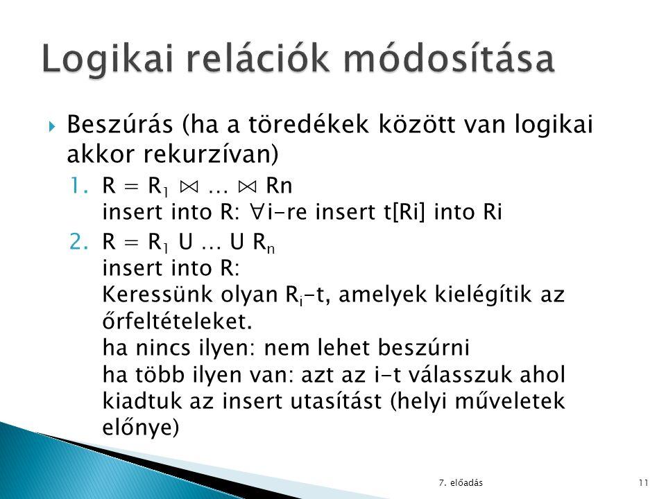  Beszúrás (ha a töredékek között van logikai akkor rekurzívan) 1.R = R 1 ⋈ … ⋈ Rn insert into R: ∀i-re insert t[Ri] into Ri 2.R = R 1 U … U R n inser
