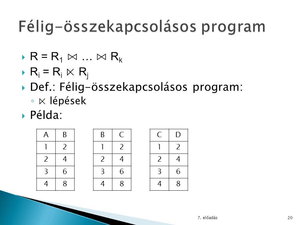  R = R 1 ⋈ … ⋈ R k  R i = R i ⋉ R j  Def.: Félig-összekapcsolásos program: ◦ ⋉ lépések  Példa: 7. előadás20 AB 12 24 36 48 BC 12 24 36 48 CD 12 24