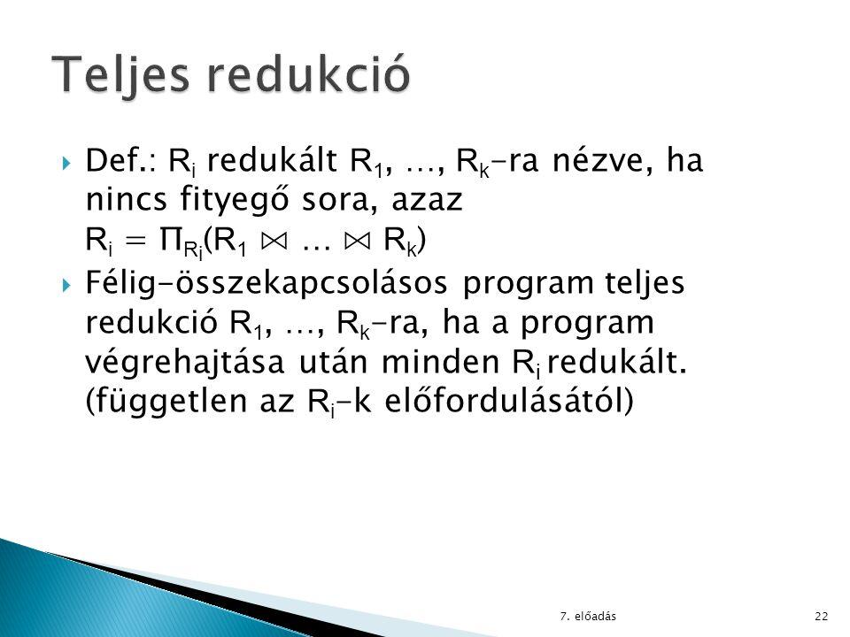  Def.: R i redukált R 1, …, R k -ra nézve, ha nincs fityegő sora, azaz R i = Π R i ( R 1 ⋈ … ⋈ R k )  Félig-összekapcsolásos program teljes redukció