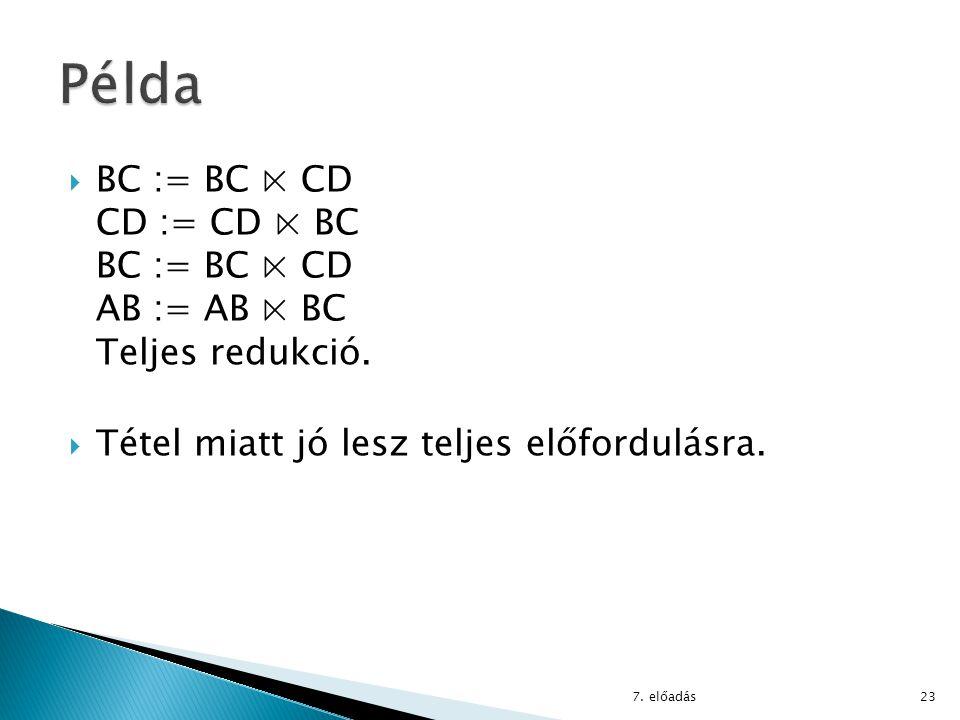  BC := BC ⋉ CD CD := CD ⋉ BC BC := BC ⋉ CD AB := AB ⋉ BC Teljes redukció.  Tétel miatt jó lesz teljes előfordulásra. 7. előadás23