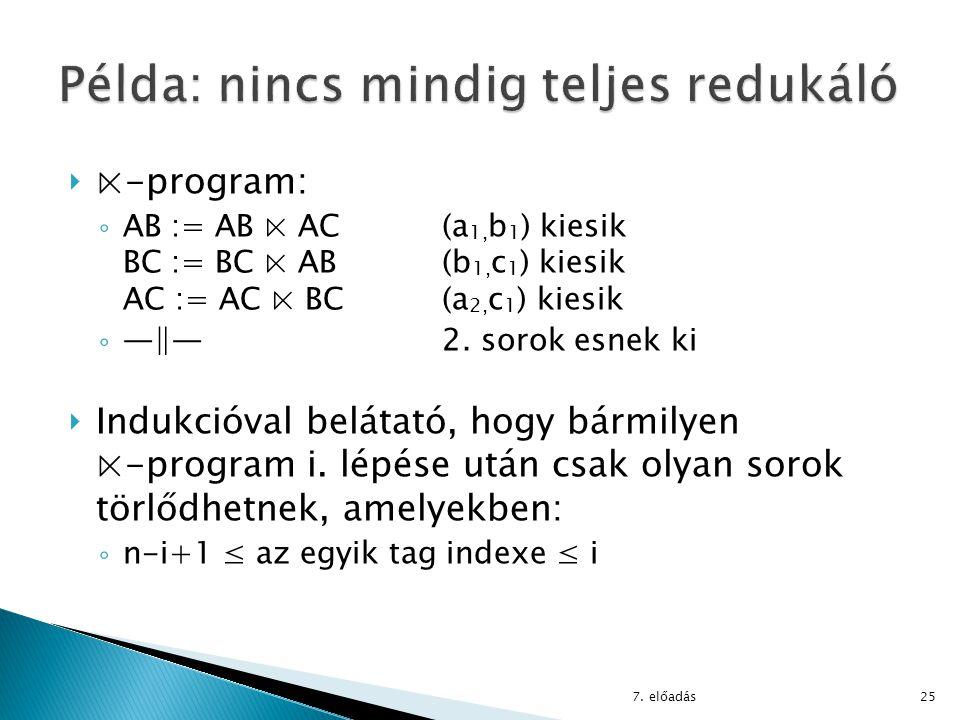  ⋉-program: ◦ AB := AB ⋉ AC (a 1, b 1 ) kiesik BC := BC ⋉ AB(b 1, c 1 ) kiesik AC := AC ⋉ BC(a 2, c 1 ) kiesik ◦ ―‖― 2. sorok esnek ki  Indukcióval