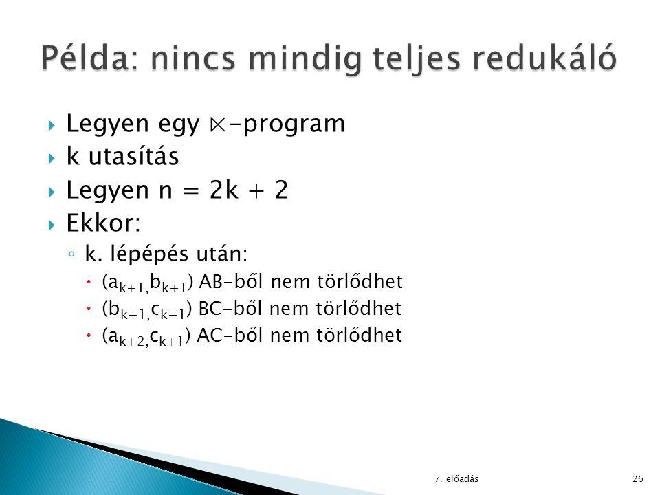  Legyen egy ⋉-program  k utasítás  Legyen n = 2k + 2  Ekkor: ◦ k. lépépés után:  (a k+1, b k+1 ) AB-ből nem törlődhet  (b k+1, c k+1 ) BC-ből ne