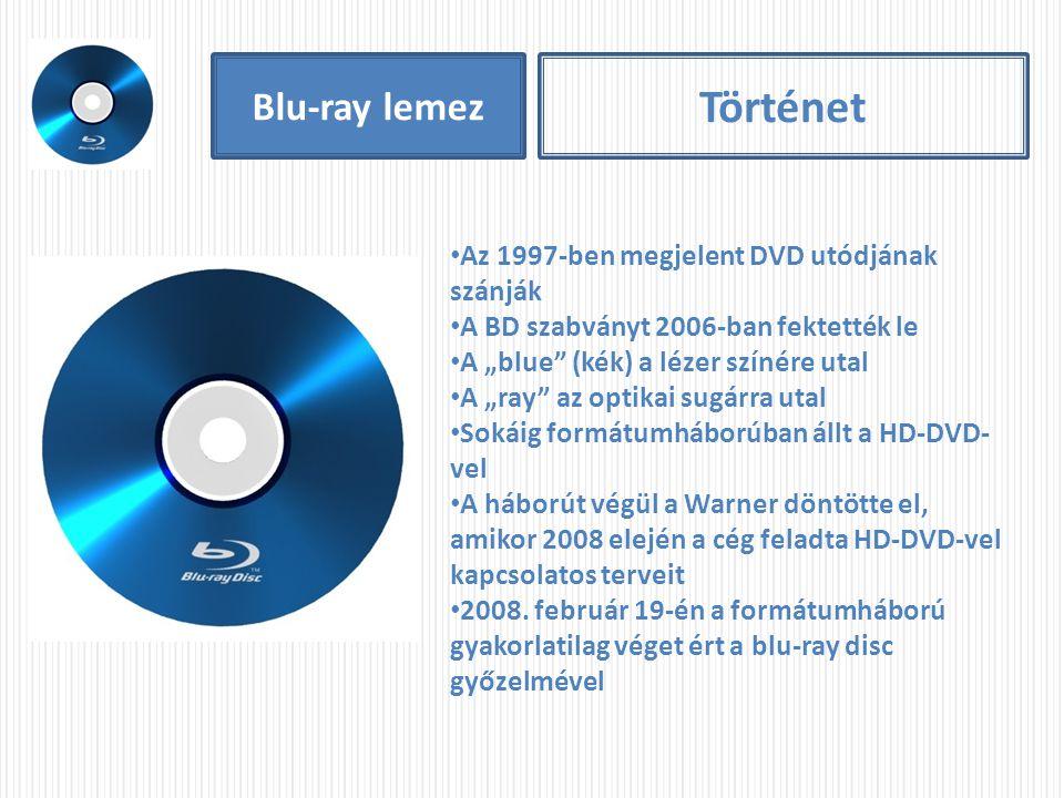 """Blu-ray lemez Történet Az 1997-ben megjelent DVD utódjának szánják A BD szabványt 2006-ban fektették le A """"blue"""" (kék) a lézer színére utal A """"ray"""" az"""