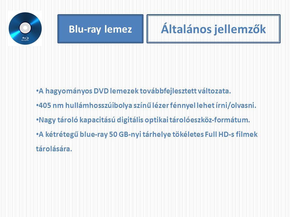 Blu-ray lemez Általános jellemzők A hagyományos DVD lemezek továbbfejlesztett változata. 405 nm hullámhosszúibolya színű lézer fénnyel lehet írni/olva