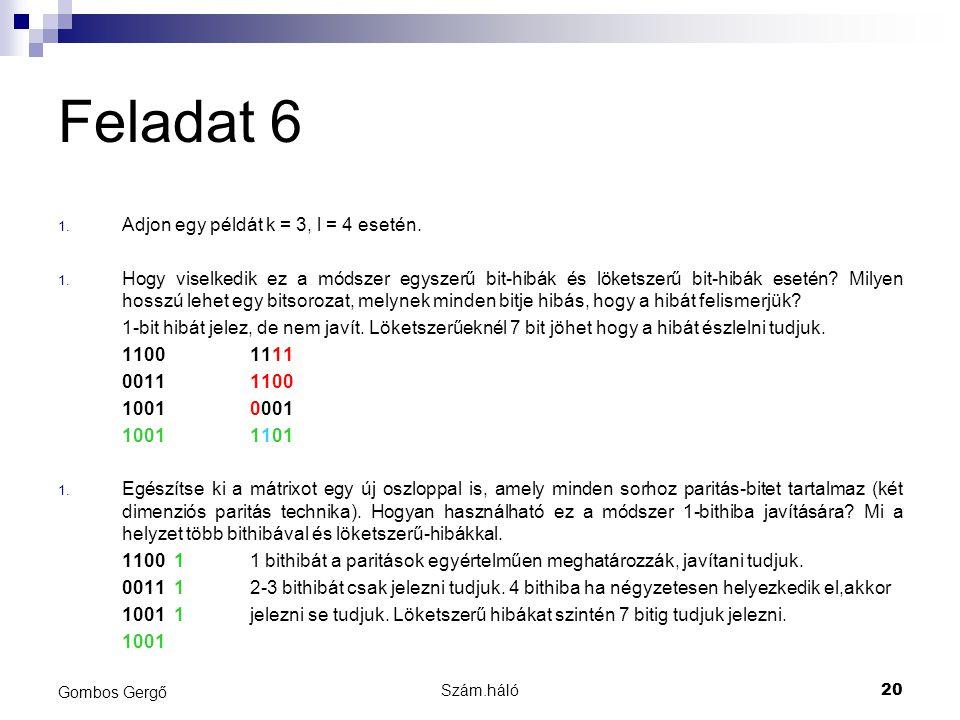 Szám.háló20 Gombos Gergő Feladat 6 1. Adjon egy példát k = 3, l = 4 esetén. 1. Hogy viselkedik ez a módszer egyszerű bit-hibák és löketszerű bit-hibák
